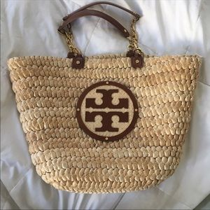 Tory Burch Straw and Leather Tote